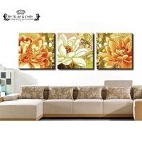 (Geen Frame) 3 stks/set handgeschilderde Olieverfschilderijen Grote Moderne Abstracte schilderen nummers Wall Art Roze Lotus bloem