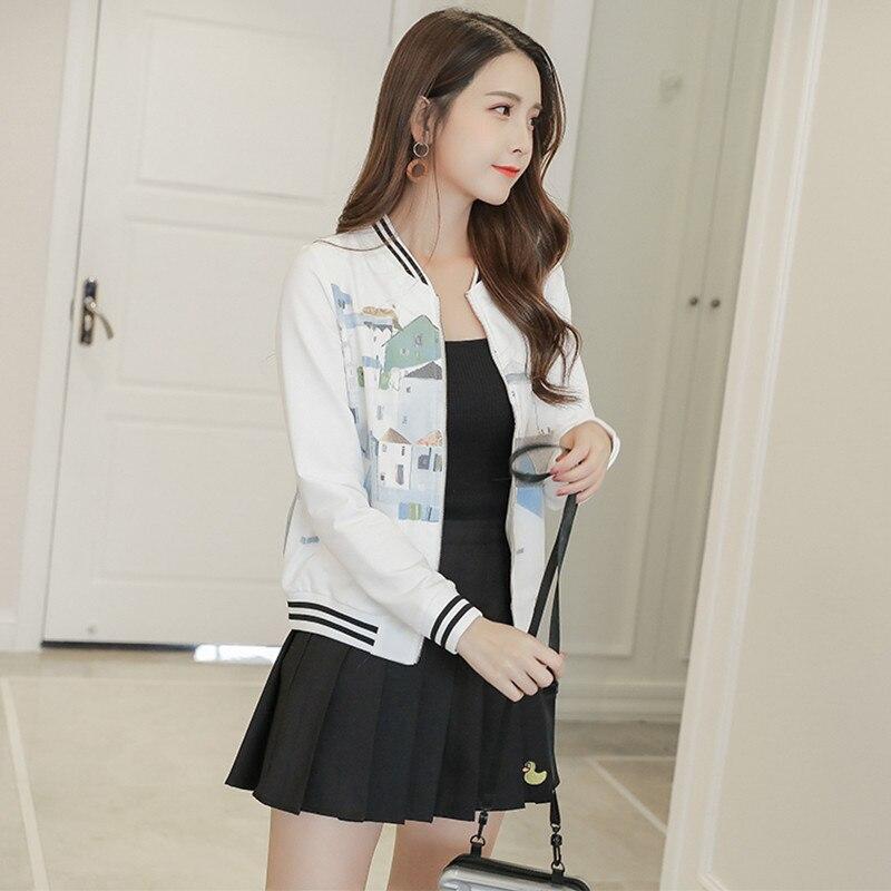 2018 Autumn Harajuku Fashion Pure Cotton   Basic     Jacket   Women Chic Geometric Print   Jacket   Coat Slim Cardigan Sportwear   Jacket