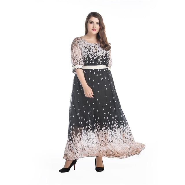 bde0e0df83 7XL Plus Rozmiar Kwiat Drukuj Kobiety Szyfonowa Sukienka Maxi Duże Rozmiary  Długa Sukienka Boho Sundress Vestidos