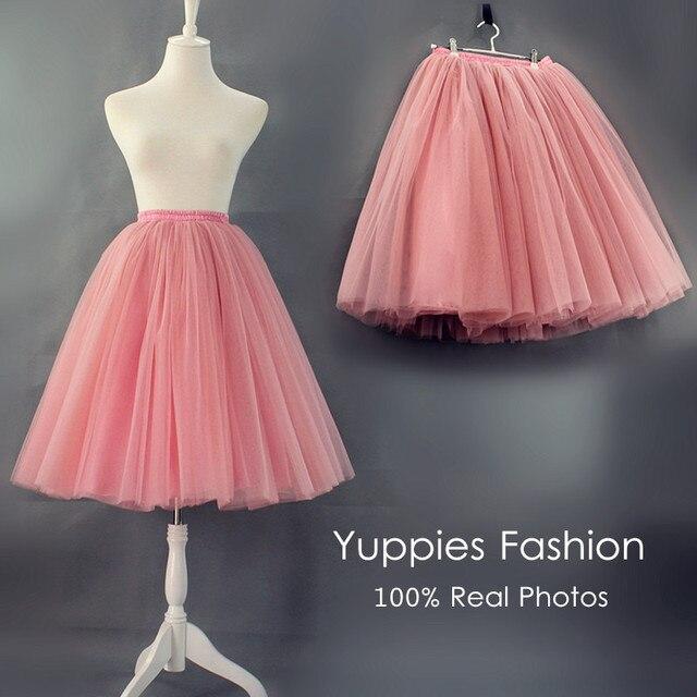 Yuppies moda 7 capas calidad midi faldas para mujer adultos de la alta cintura de la falda del tutú de tul vintage lolita enagua faldas saia jupe