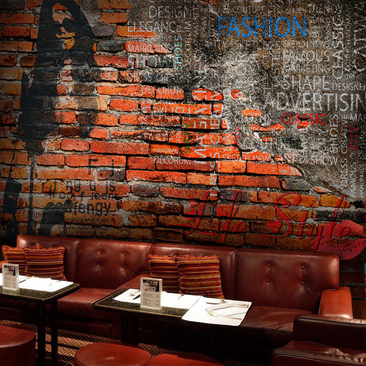 Custom size photo retro brick wall personality graffiti for Cafe mural wallpaper