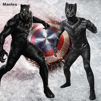 Movie Black Panther Cosplay Costume Superhero T'Challa Black Jumpsuit 3D Printed Bodysuit Halloween Outfit Fancy Suit Adult Men