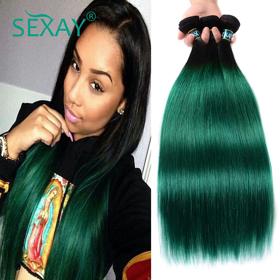 Sexay Pre-Colored Green Ombre Peruvian Hair Bundles T1B/Turquoise Dark Roots Green 3/4pcs Silky Straight Human Hair Weave Remy