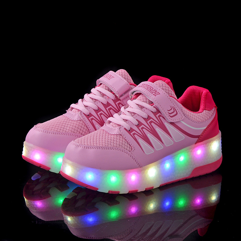BABAYA Children Flash Led Light Wheels Skate Glowing Shoes USB Charge Boys Girls Luminous Sneakers Casual Sport Shoes