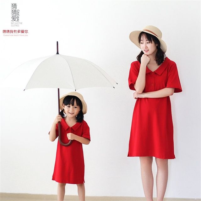 2015 Spring Autumn brand cotton soft solid red short sleeve woman girls mother polo one piece dress family matching sets clothes