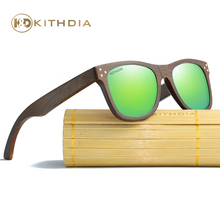 Kithdia Brand HD Polarized Lens Wooden Frame Sunglasses / Bamboo Sunglasses and Support Drop Shipping / Provide Pictures #KD0280 fashionable blue polarized lens bamboo frame sunglasses