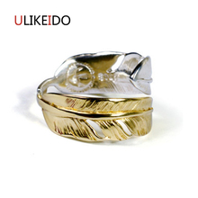 100% Pure 925 Sterling Silver Jewelry Feather Rings Opening Wide Version Men Signet Ring For Women Special Christmas Gift 1079 100% pure 925 sterling silver jewelry bird rings opening vintage men signet ring for women fine gift 0013