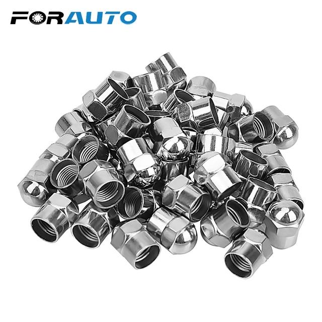 100 pces tampões de pressão de ar do pneu do carro roda válvula de pneu tampa da haste plástico cromado acessórios do pneu universal hermético capa