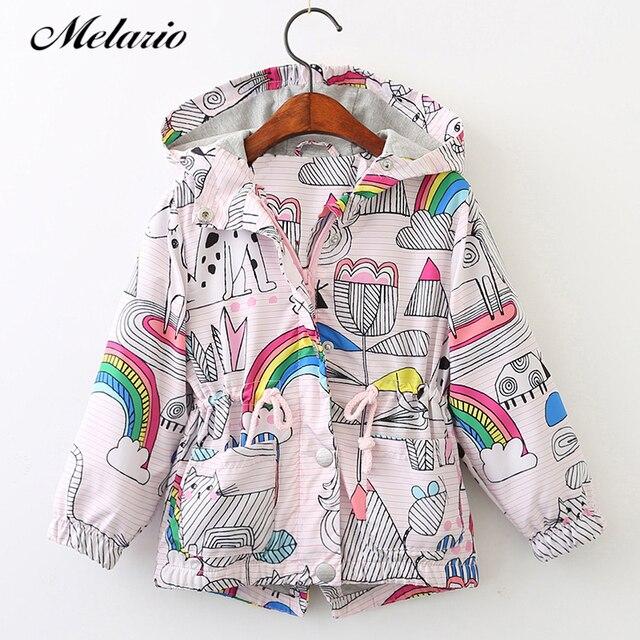 Melario Пальто и куртки для девочек 2018 Весенняя мода верхняя одежда для детей, куртки для Обувь для девочек одежда куртки с капюшоном с персонажами из мультфильмов
