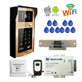 Free Shipping Wireless Wifi Video DoorPhone Intercom Metal Doorbell Touch RFID Code Keypad for Phone Remote Electric Strike Lock