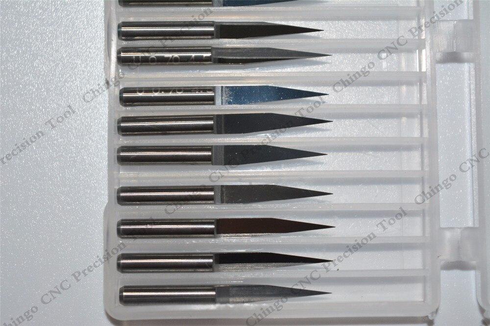 3,175 мм* 15degrees* 0,1 мм-50 шт. ЧПУ твердосплавные Гравировка бит, деревообрабатывающие фрезы, ПВХ, МДФ, акрил, Концевая