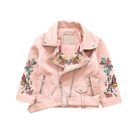 High Quality 2018 New Children PU Leather Embroidery Jackets Spring & Autumn Kids Turn down Collar Coats PU Clothes for Girls