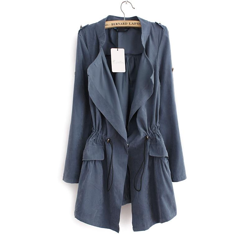 2018 Korean Casual Trench Coat Autumn Winter Elegant Drawstring Waist Long Trench For Women Plus Size Roupas Feminina Hot Sale