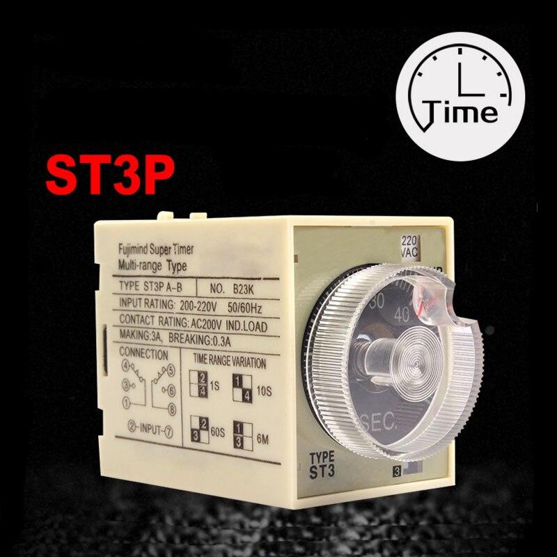 AC 220 V Delay Timer Relay Tempo JSZ3A-B Um C D 220 V 24 V 10 S 60 S Minuto com a Base