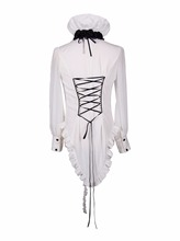 Fashion Unique Steampunk Slim Fit White Long Sleeves Men Chiffon Blouses