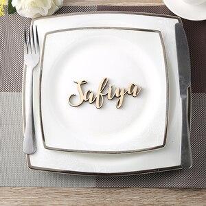 Вечерние карты на заказ, свадебные открытки, персонализированные деревянные имена, настройки имени, имя гостя, свадебные украшения для стол...
