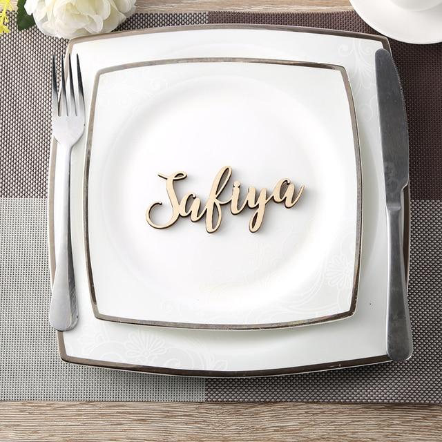 Personalizado Nomes de madeira Lugar nome Cartões do Lugar do casamento decoração do partido Personalizado configurações de Hóspedes tags de nome da tabela Do Casamento decoração