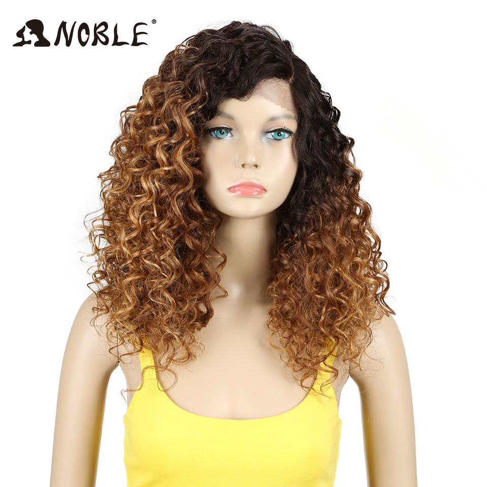Noble Synthetic Hair Curly Long Synthetic Lace Wig Heat Resistant Wig 20 Inch For Black Women Blonde Synthetic  Lace Front Wig