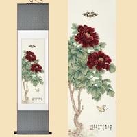 Seta cinese Acquerello Ink fiore Ricco Peonia due farfalle feng shui picture wall art damasco con cornice scroll pittura della tela di canapa