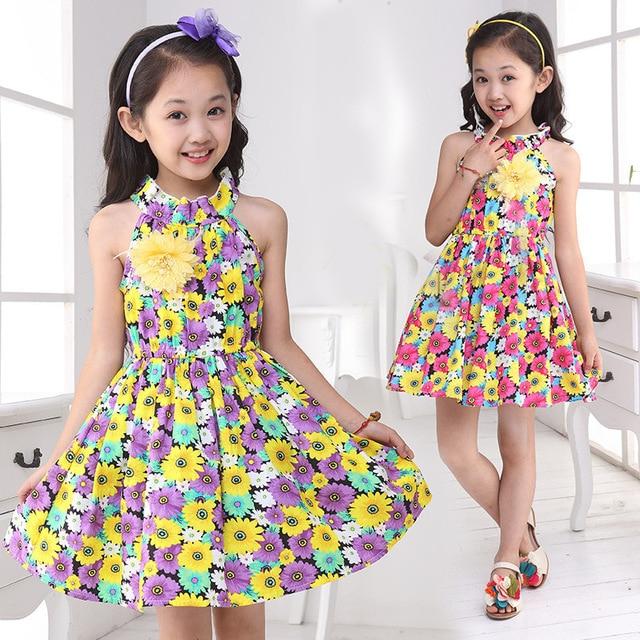4-13 age girls cute flowers strap dance tutu princess dress 2018 new summer  kids children costume party vestidos clothes 458D becad541d