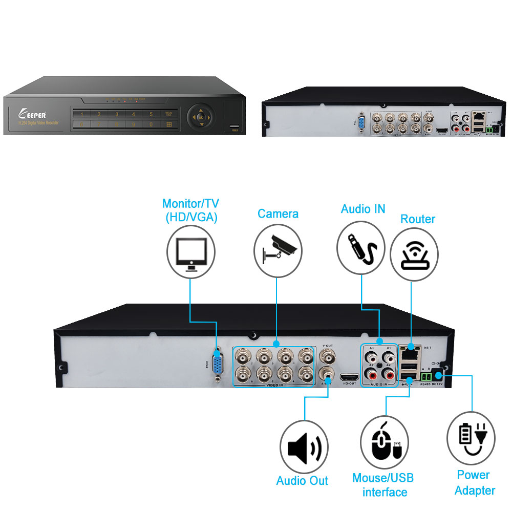 Image 3 - KEEPER 8 Channel 1080P AHD Full HD 5 in 1 Hybrid DVR Surveillance Video Recorder For AHD Camera TVI CVI AHD CVBS IP Camera-in Surveillance Video Recorder from Security & Protection