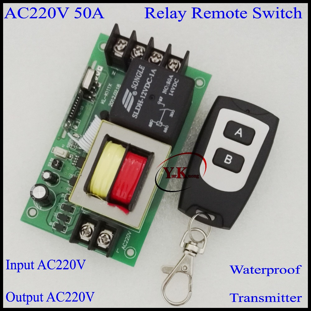 High Power Load Remote Control Switch AC220V 50A Water Pump LED Home Appliances high load capacity 315/433.92MHZ A ON B OFF ac 250v 20a normal close 60c temperature control switch bimetal thermostat
