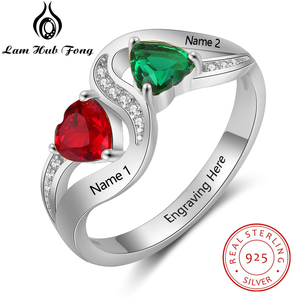 Women Promise Ring Personalized 925 Sterling Silver Engraved Name Ring Heart Shape Birthstone Anniversary Gift (Lam Hub Fong)Women Promise Ring Personalized 925 Sterling Silver Engraved Name Ring Heart Shape Birthstone Anniversary Gift (Lam Hub Fong)