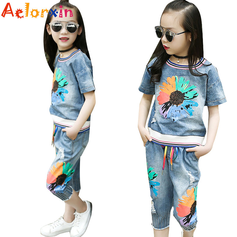 Girls Outfits Kids Denim Clothes Sets for Girls Summer Flower Shirts & Pants Suits Child Clothing Sets Jeans Tops & Shorts Suits zengli mens denim cargo shorts jeans casual vintage blue pockets biker jeans summer knee length denim shorts 40 42 44 46 48
