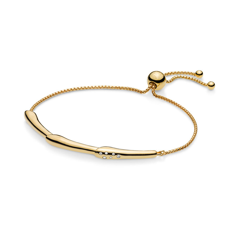 2019 Spring Gold Color Shine Flower Stem Sliding Bracelet Pure 925 Sterling Silver Charm Bracelet Women