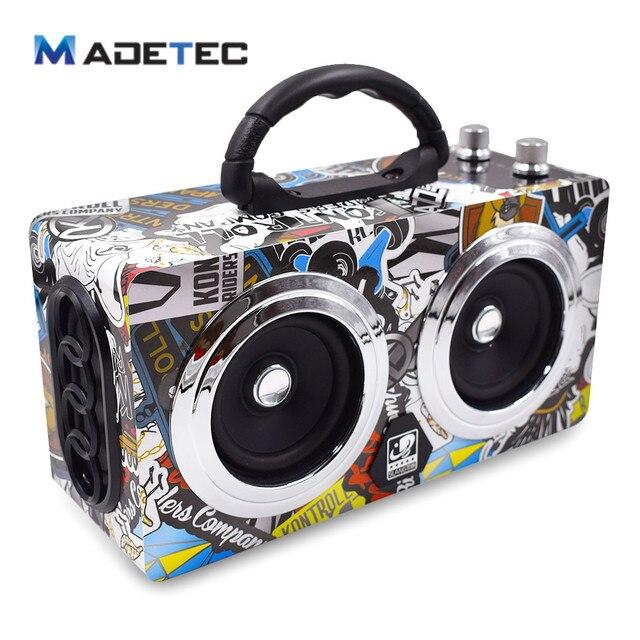 Madetec деревянный открытый bluetooth Динамик 20 Вт surppot USB/TF/FM сабвуфер HiFi Беспроводной Портативный Динамик кадриль аудио vs120