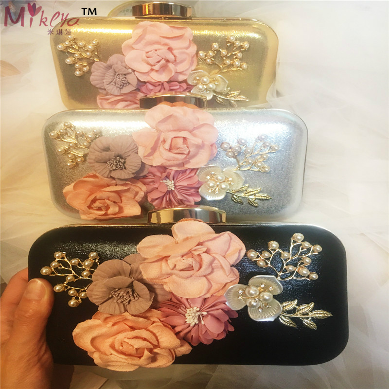 Fashion Women Evening Bag Flower Beaded Clutch Shoulder Bag Party Wedding Purse Handbag Female Chains Bag 2016 fashion famous brand handbag folding clutch purse evening party leather women shoulder messenger bag bb0808