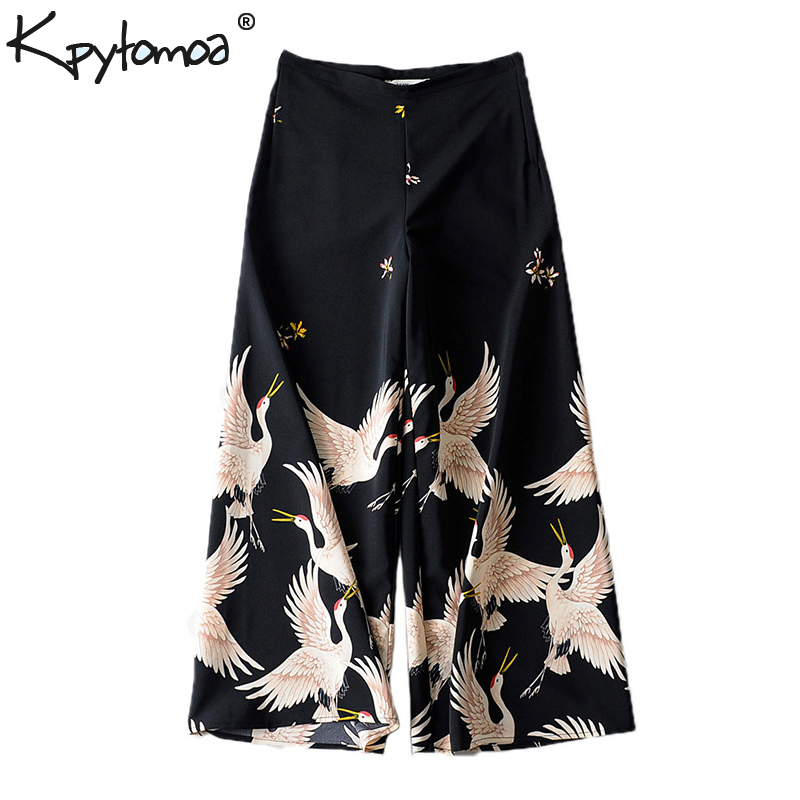 Vintage Chic Cranes Print   Wide     Leg     Pants   Women 2019 Fashion Side Zipper Loose Ladies Ankle Trousers Casual Pantalon Femme
