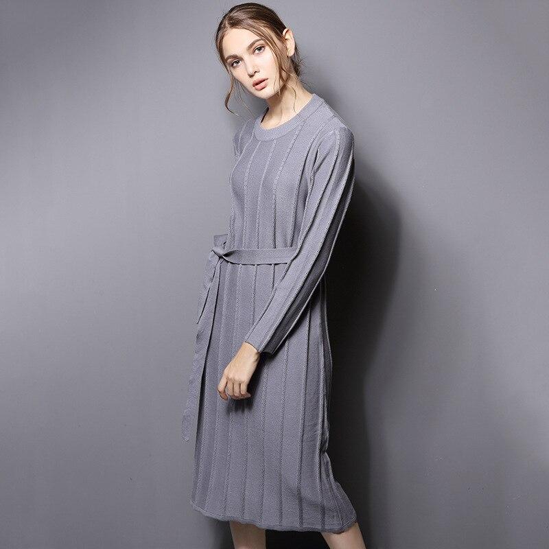 Robes Robe Nouveau Hiver Européenne Lx2012 Femmes Automne gray Femme Pull O Black 2018 Parti Tricoté Ayunsue cou Lâche Hq50w66x
