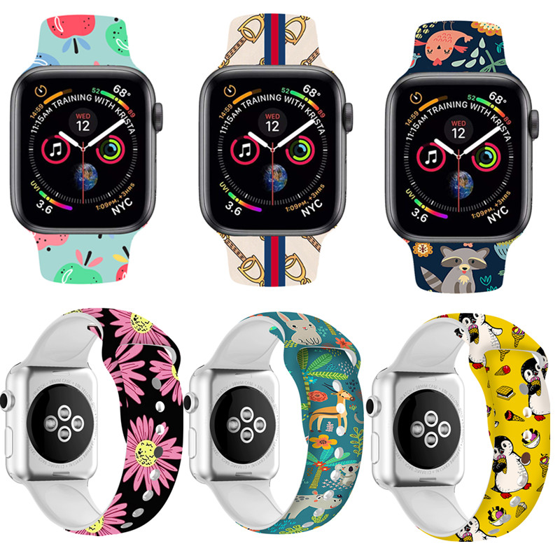 Soft Cartoon Print Silicone Watchband For Apple Watch Band Series 1 2 3 4 iWatch Wrist Bracelet Strap 38mm 42mm 40mm 44mm(China)