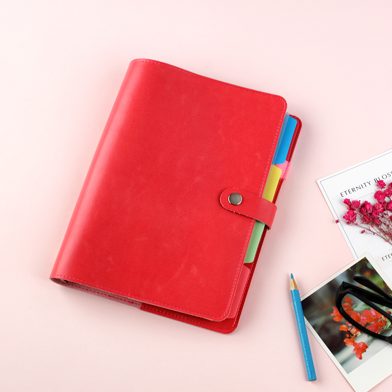 JUGAL Red Leather A5 6 Holes Spiral Notebook Weekly Monthly Planner Diary Lined Notepad Agenda Ring Binder Organizer 2018 jugal new reative vintage notebook hard