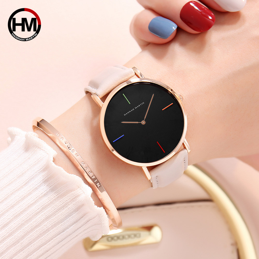 2018 HANNAH MARTIN Brand Fashion Simple Japan Quartz Movement Watch Leather Strap Nylon Clock Women Analog Waterproof Wristwatch