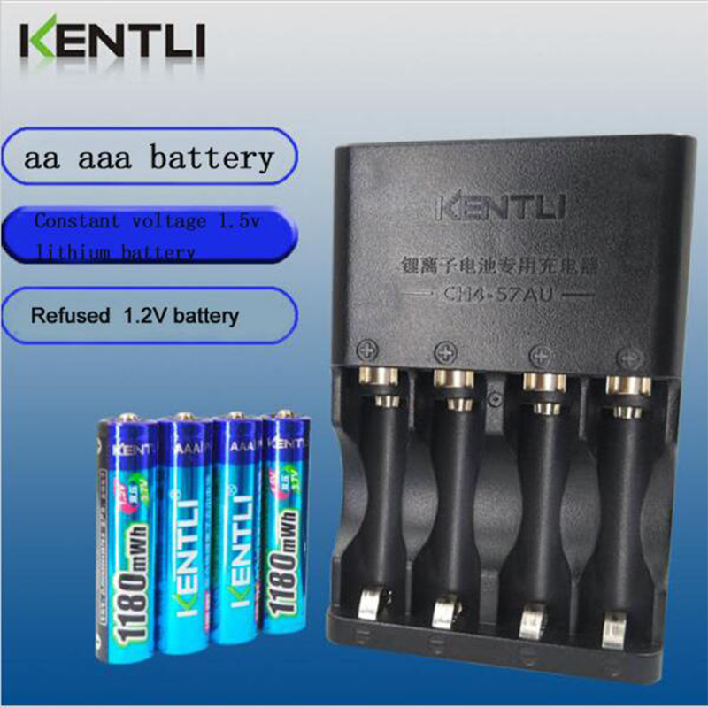 KENTLI 4pcs Powerful camera 1.5V AAA 1180mWh Lithium li-ion polymer Rechargeble Battery+ 4 slot AA AAA quickest battery charger