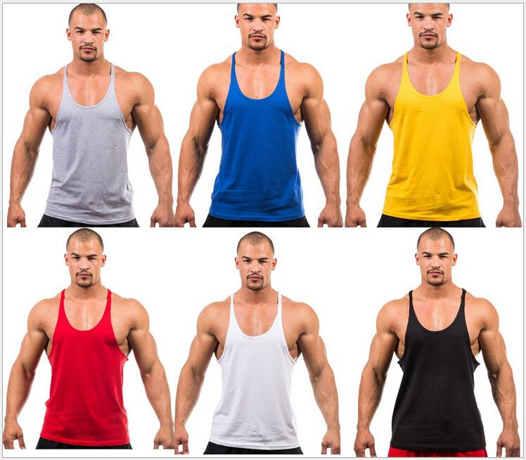 Gyms Singlets Mens Blank Tank Tops 100 Cotton Sleeveless Shirt Bodybuilding Vest and Fitness Stringer Casual