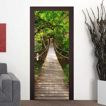 3D Tür Aufkleber Wald Zugbrücke Rot Telefonzelle Tapete Abnehmbare Selbst  Klebe Wandbild Poster PVC Home Wohnzimmer