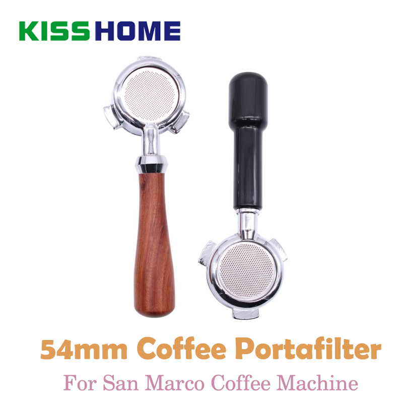 Stainless Steel Coffee Portafilter For SanMarco Coffee Machine Brewing Filter 54mm Wooden/PC Bottomless Handle Coffee AccessoryStainless Steel Coffee Portafilter For SanMarco Coffee Machine Brewing Filter 54mm Wooden/PC Bottomless Handle Coffee Accessory