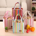 Portable Bento Pouch Thermal Insulated Fresh Beam Port Lunch Bag Canvas Container Stripe Travel Dining Picnic Bag