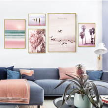 Nordic Pink Poster Landscape Birds Sea Beach Painting Canvas Flower Pictures Wall Art Seagull Paintings For Living Room Unframed unframed sea wave and beach pattern canvas paintings