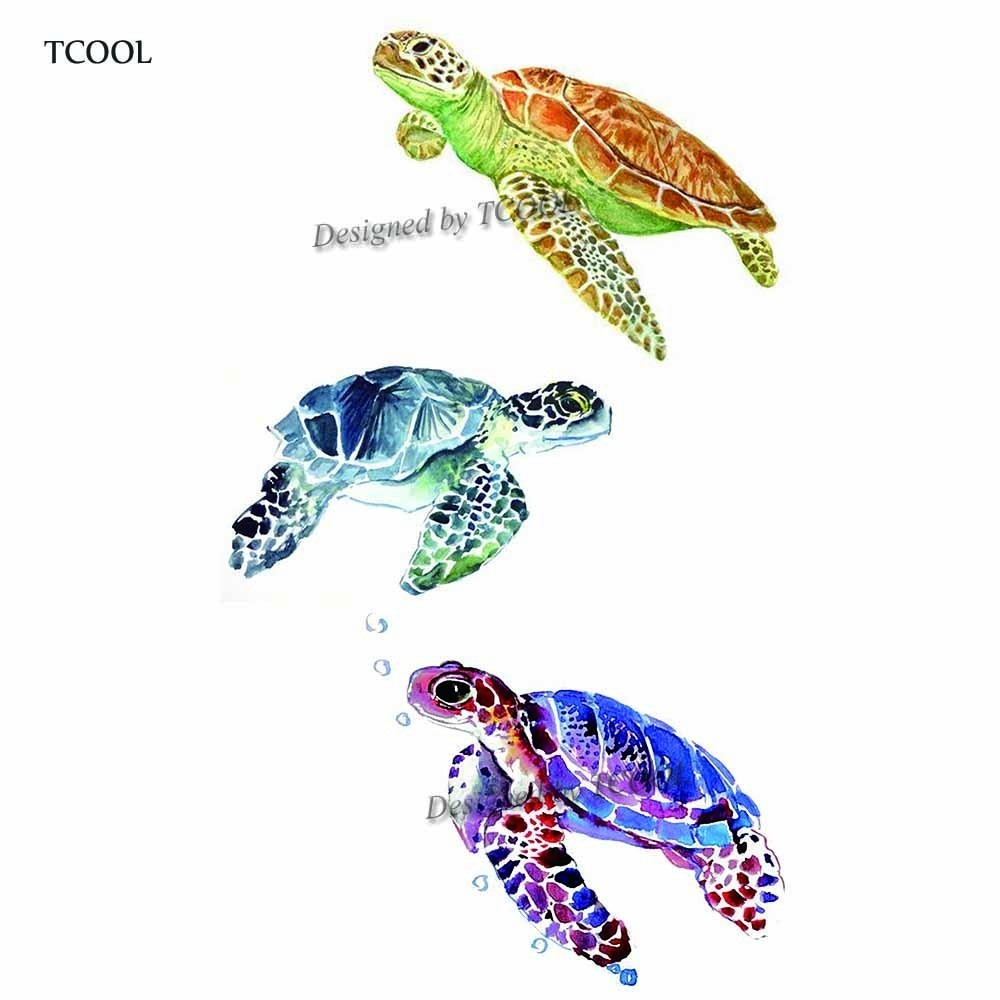 HXMAN Turtle Temporary Tattoo Sticker Waterproof Women Fashion Fake Body Art Arm Tattoos 9.8X6cm Kids Hand Tatoo A-342