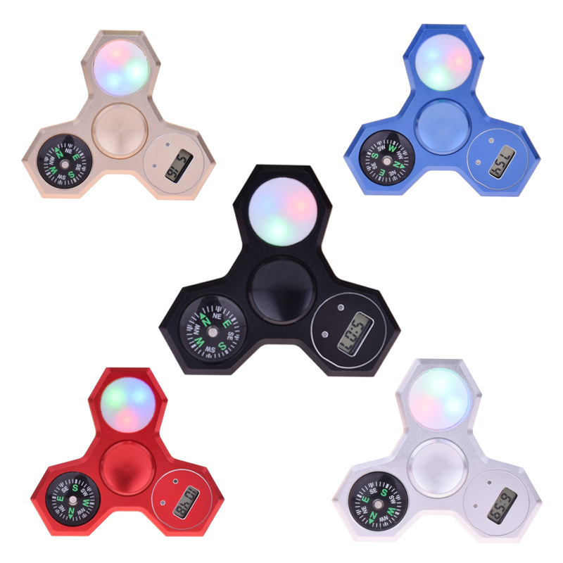 2017 Figit Tri spinner Multi Functional Fidget Finger LED With Time Date Compass Metal Hand Carki