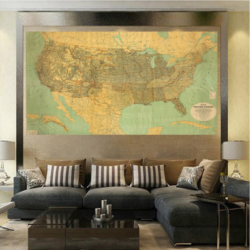 America And Canada Map Living Room Canvas Paintings Wall Art Home ...