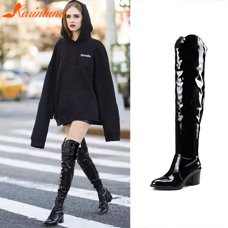 KARINLUNA Plus Size 32-48 Brand Western Knight Boots Ladies Patent PU Knee High Women 2019 Winter Heels Shoes Woman