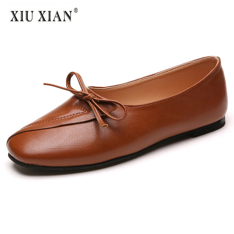 2018 New Arrived Simple Bow Knot PU Leather Women Flats Square Toe Shallow Comfort Office Lady Flats Non Slip Summer Casual Shoe 2018 summer new arrived strap design wedges women sandals peep toe comfort mid heel sexy lady sandal fashion student casual shoe