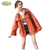 Harajuku Spring Autumn Students Large size Loose Women Jacket 2018 New Fashion Hole Letter Han edition Women Jacket S XL LH160