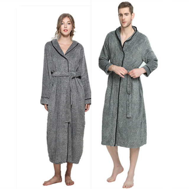 956540fc1d Winter Grey Fleece Unisex Bathrobe Peignoir Nightgowns Robes Sleepwear  Towel Bath Robe Dressing Gown for Women Men XL-5XL