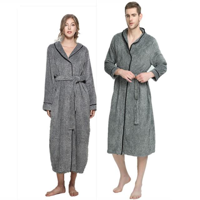 Winter Grey Fleece Unisex Bathrobe Peignoir Nightgowns Robes Sleepwear  Towel Bath Robe Dressing Gown for Women Men XL-5XL ba98cc17d